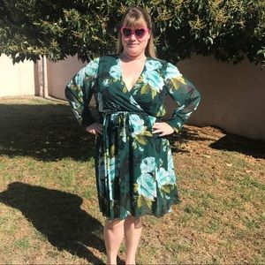 Dark Green Floral Dress with Sheer Sleeves
